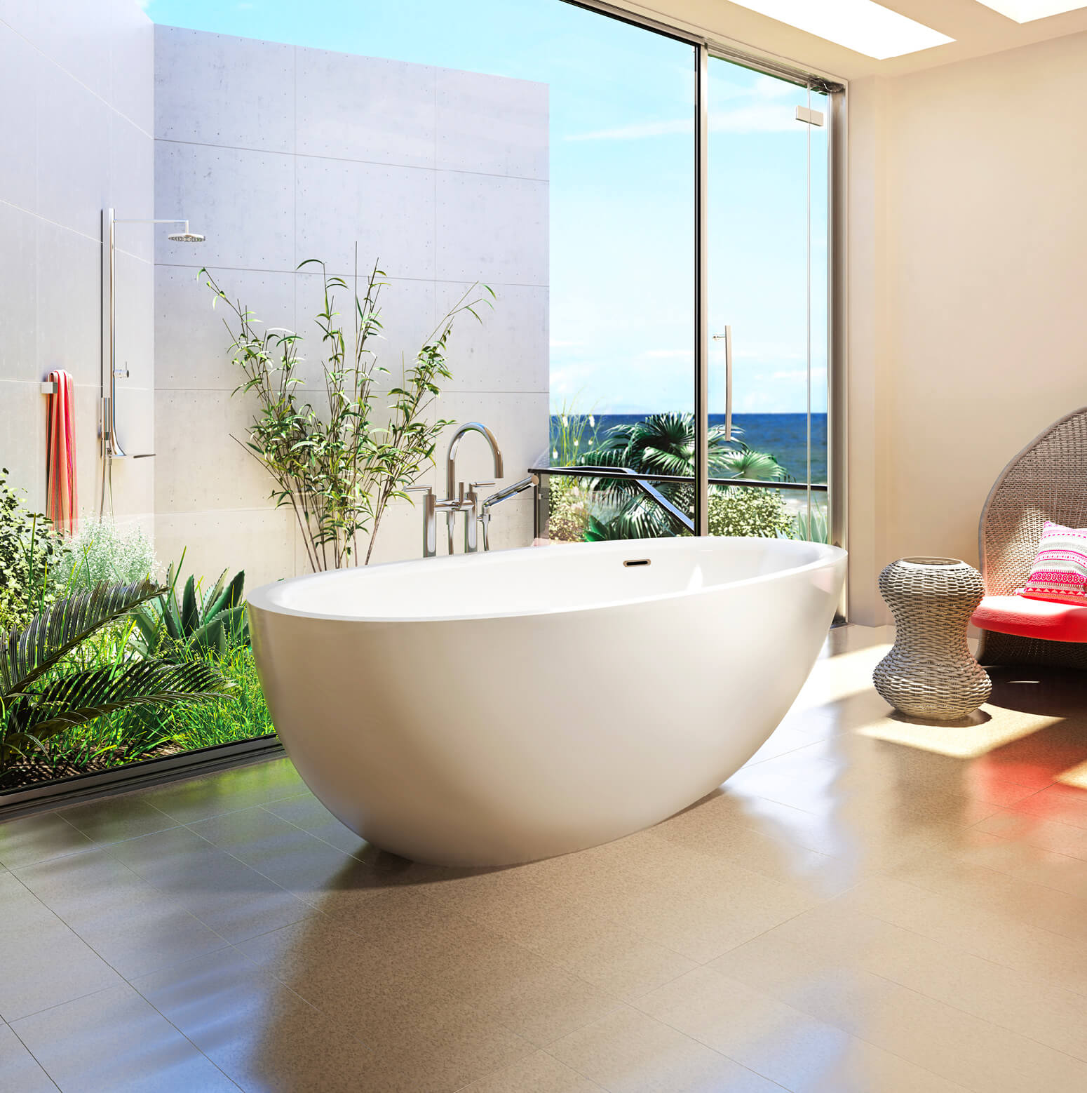 Bainultra Essencia® freestanding air jet bathtub for your modern bathroom
