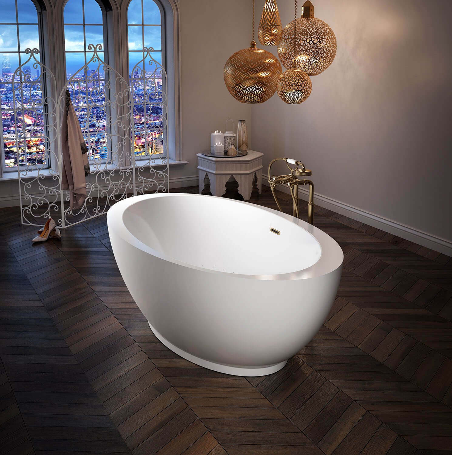 OPALIA 6839 Oblique Ellipse Right air jet bathtub for your modern bathroom