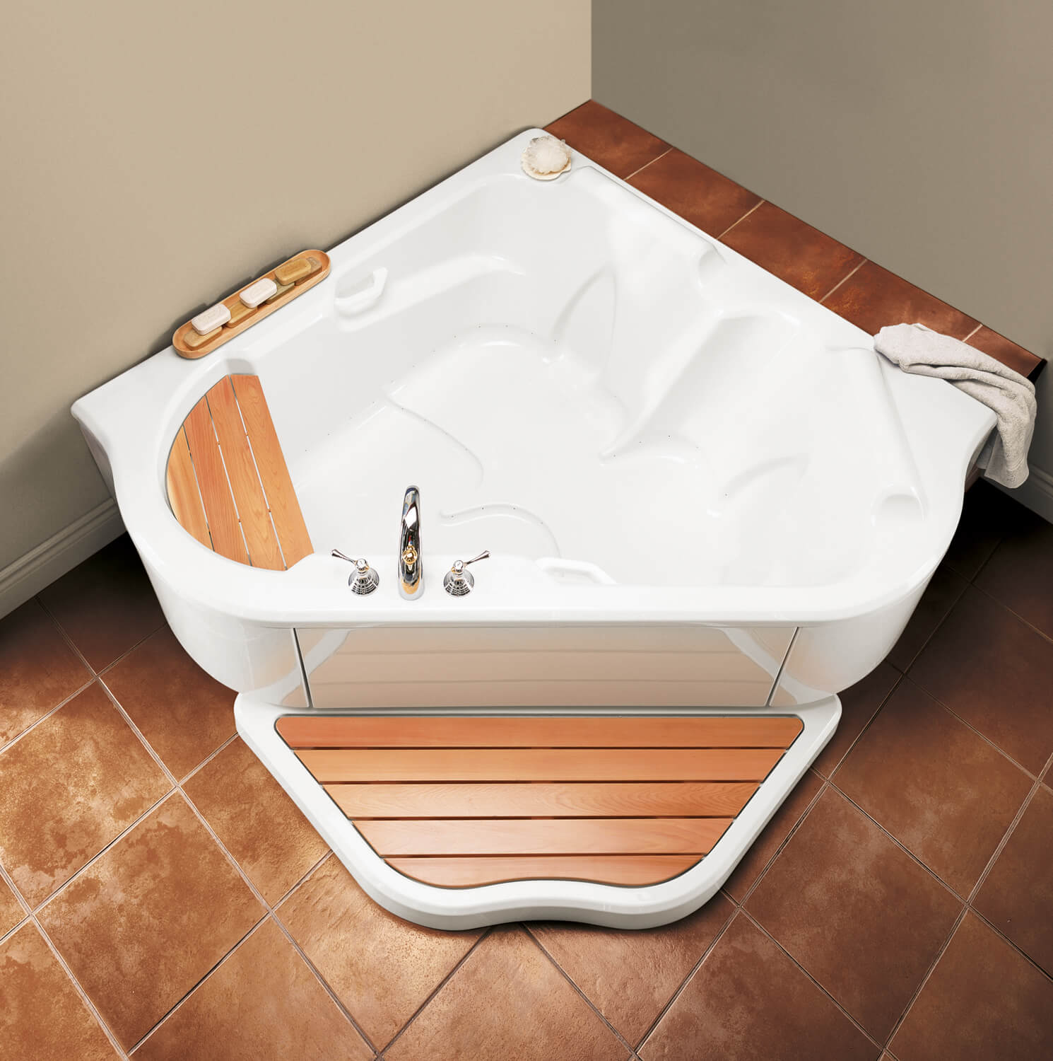 Bainultra TMU 5454 two person corner drop-in air jet bathtub for your modern bathroom
