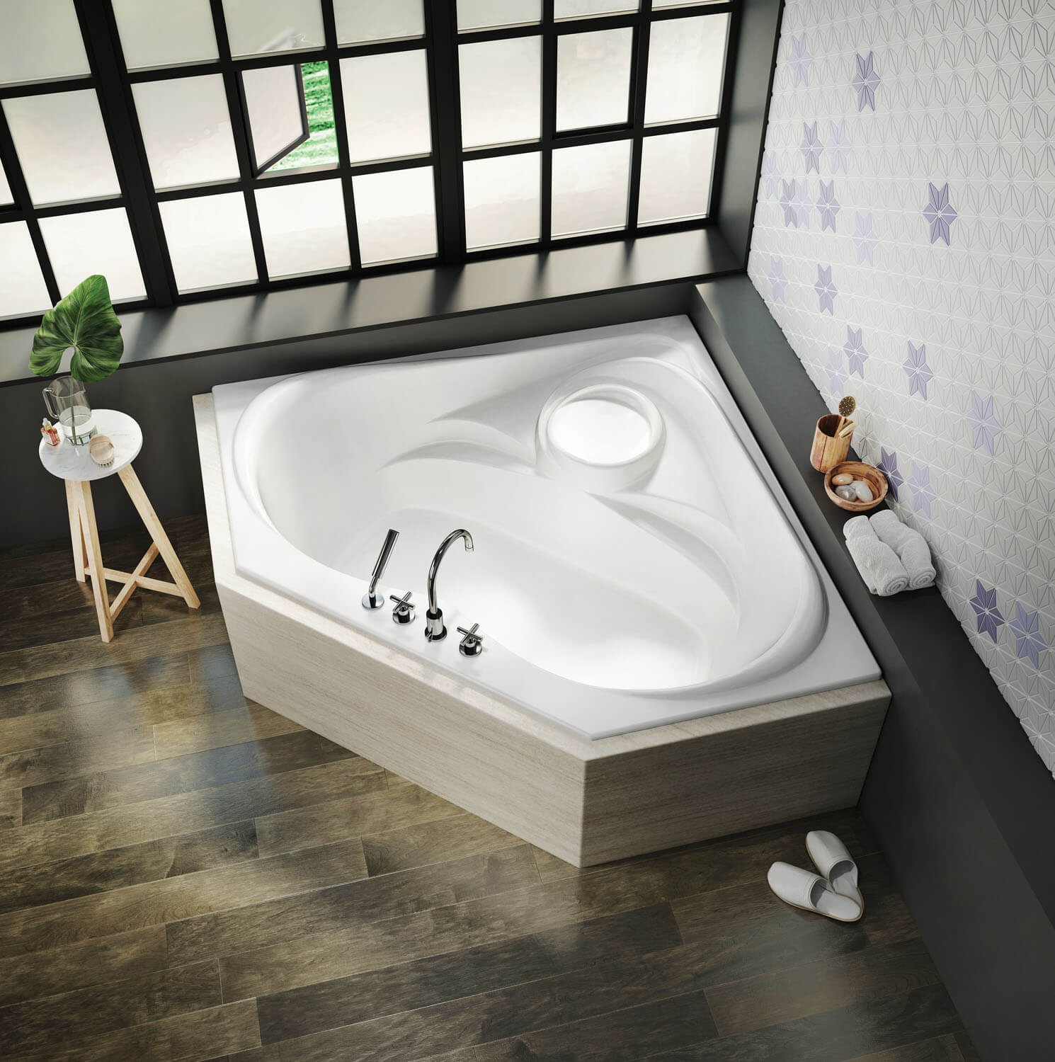 Bainultra Thermal CN2K two person large corner drop-in air jet bathtub for your modern bathroom