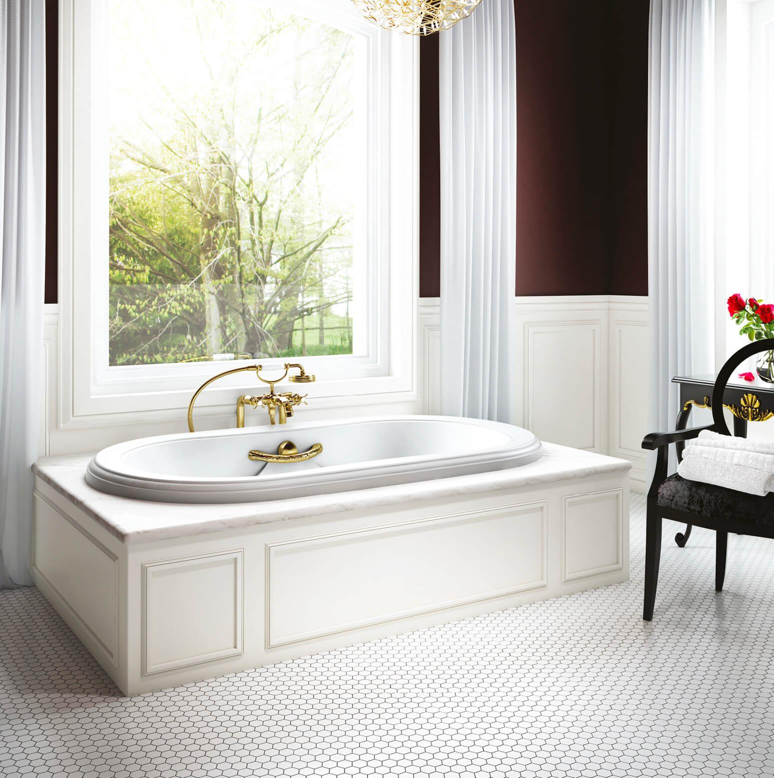 Bainultra Elegancia® collection freestanding alcove air jet bathtub for your modern bathroom