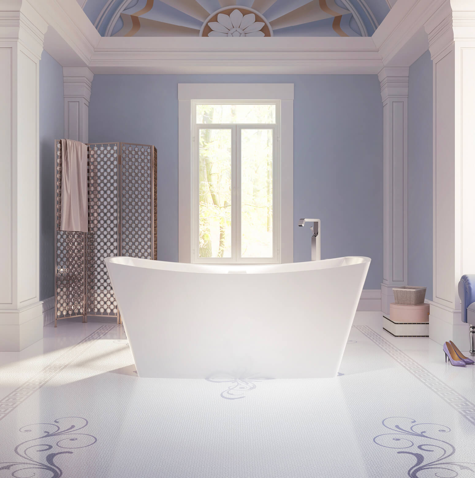 Bainultra Evanescence® collection freestanding alcove air jet bathtub for your modern bathroom