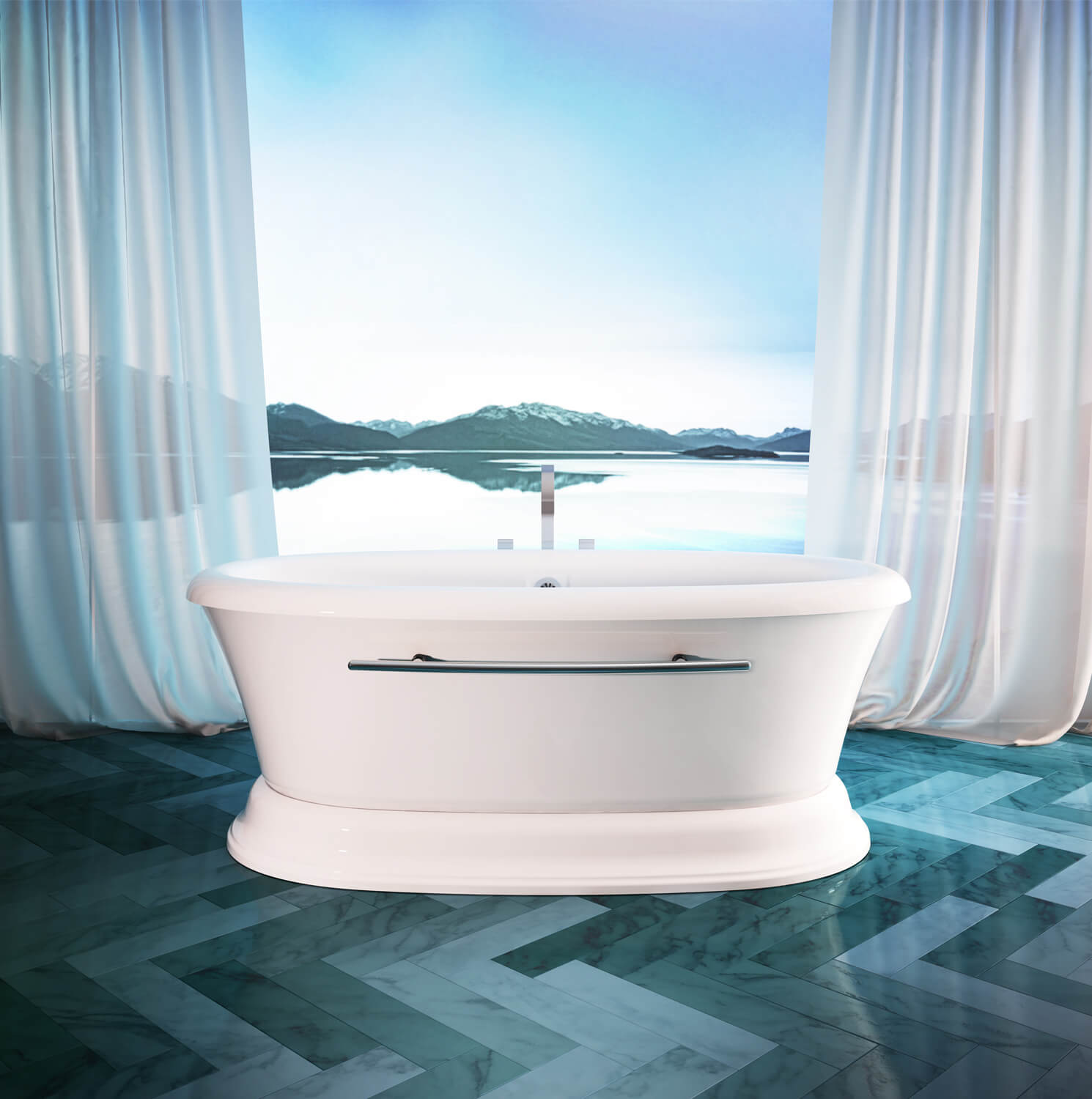 Bainultra Naos 7240 two person large pedestal air jet bathtub for your modern bathroom