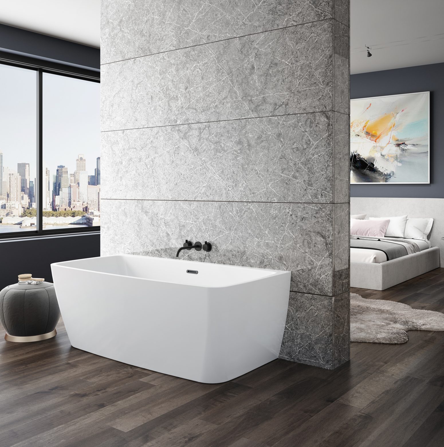 Bainultra Vibe Back To Wall 5828 air jet bathtub for your modern bathroom