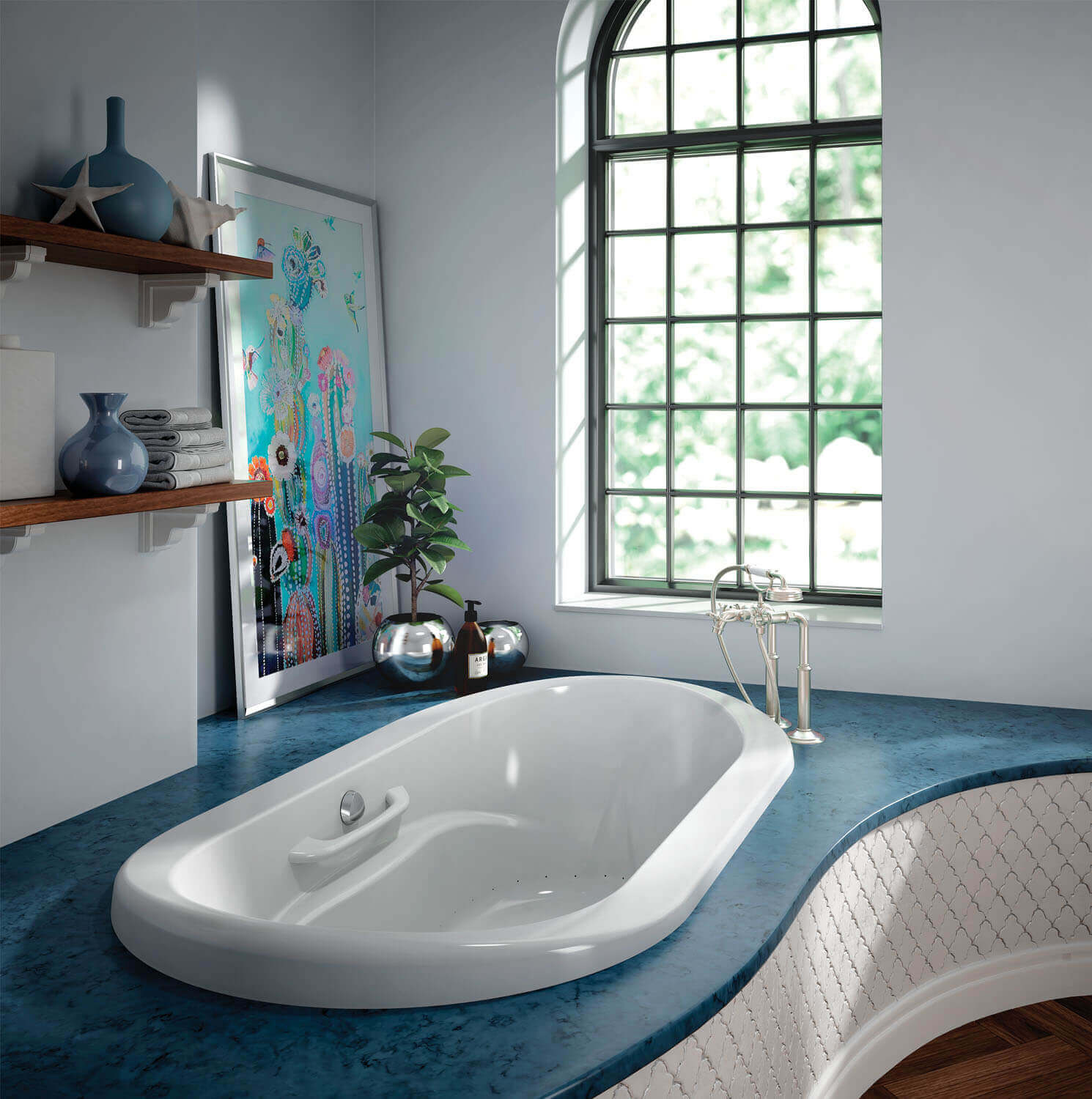 Bainultra Amma® Oval 7242 drop-in undermount air jet bathtub for two