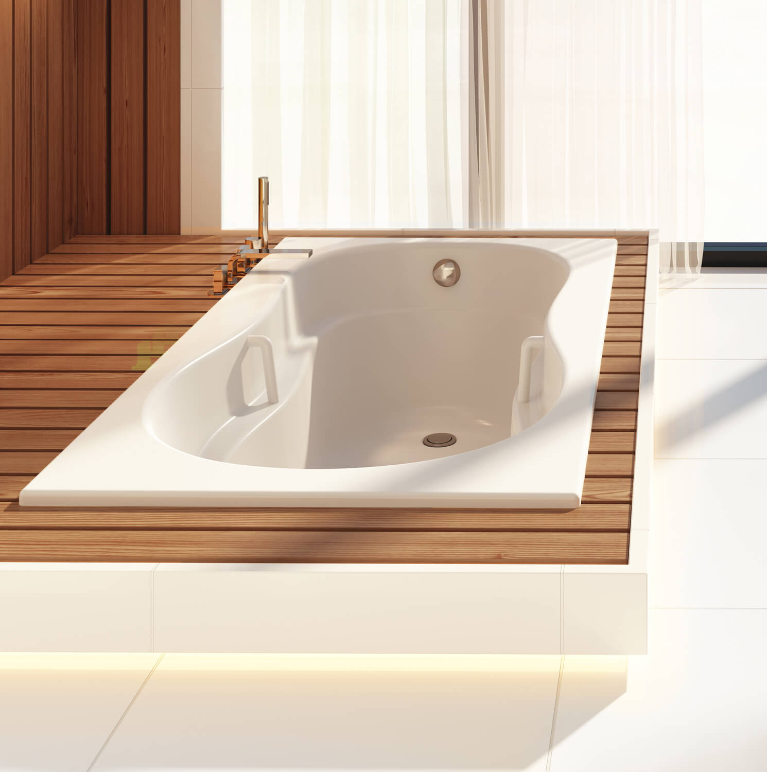 Bainultra Azur 55 collection alcove drop-in air jet bathtub for your master bathroom