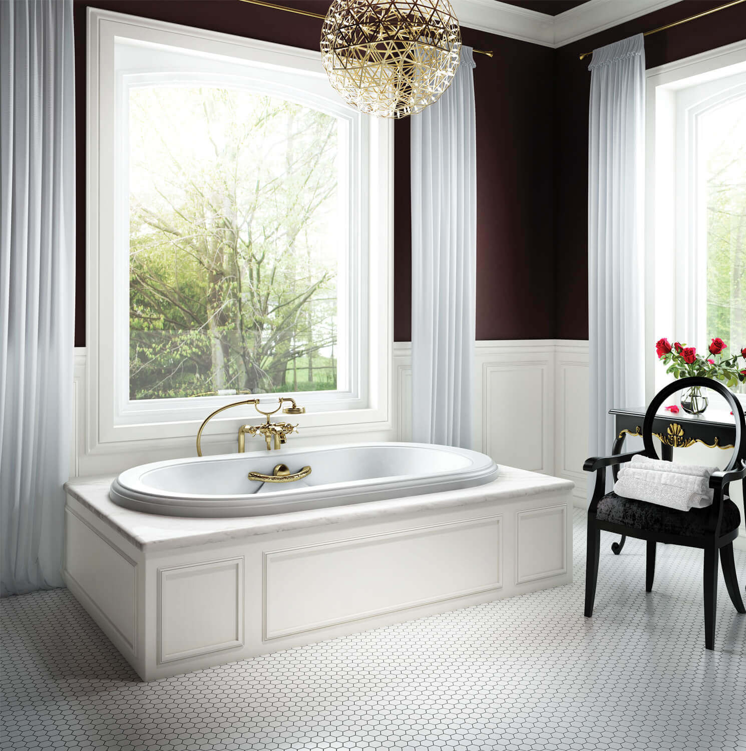 Bainultra Elegancia 6642 alcove drop-in air jet bathtub for your Victorian bathroom