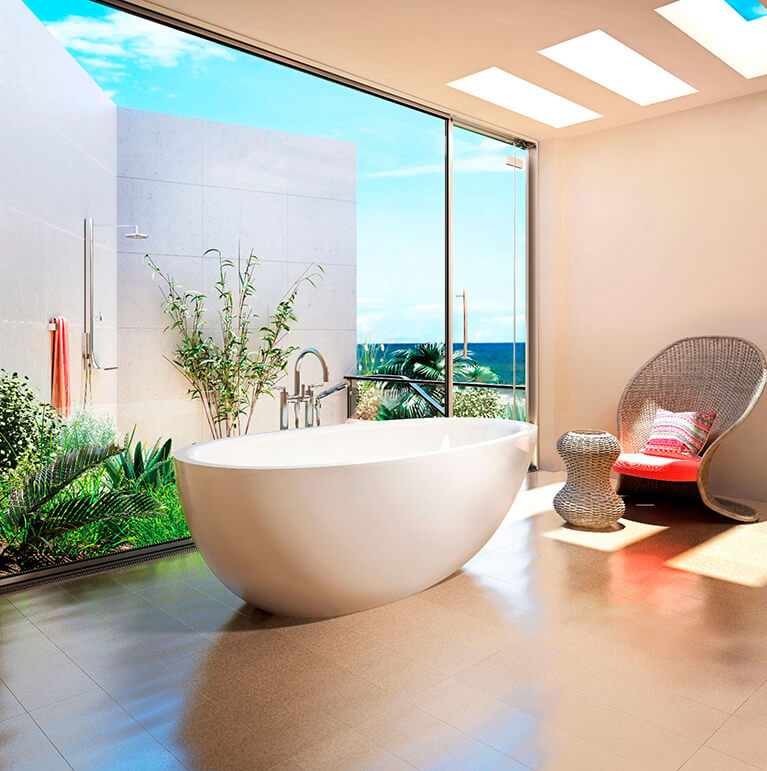 Bainultra Essencia® freestanding air jet bathtub for your master bathroom