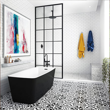 Freestanding bathtub black/white
